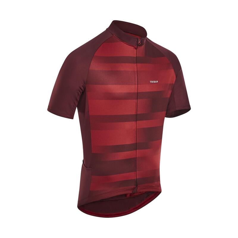 Men's Short-Sleeved Warm Weather Road Cycling Jersey RC100 - Vib/Burgundy
