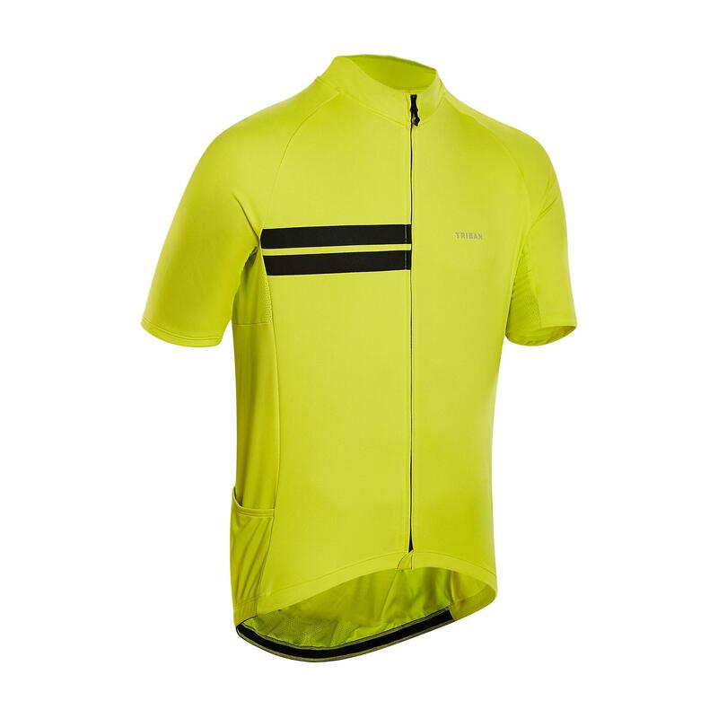 MAILLOT MANCHES COURTES TPS CHAUD VELO ROUTE HOMME RC100 JAUNE
