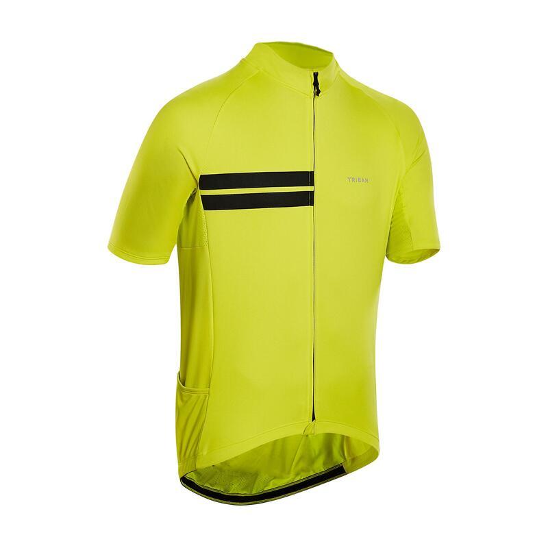 Fietsshirt met korte mouwen heren RC100 warm weer geel