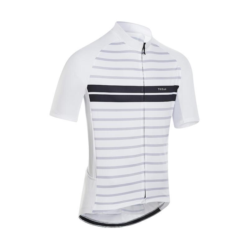 Fietsshirt met korte mouwen heren RC100 warm wit met strepen
