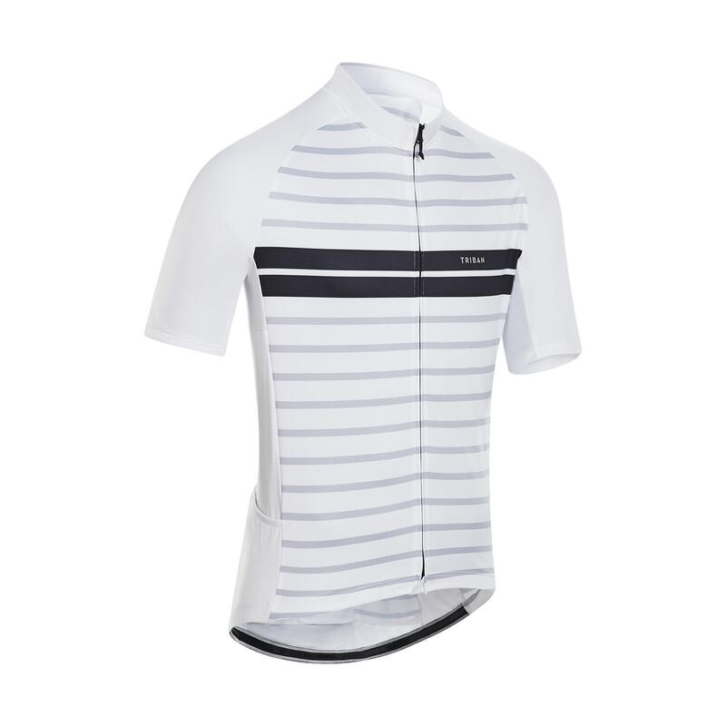 Men's Short-Sleeved Warm Weather Road Cycling Jersey RC100 - Marinière/White