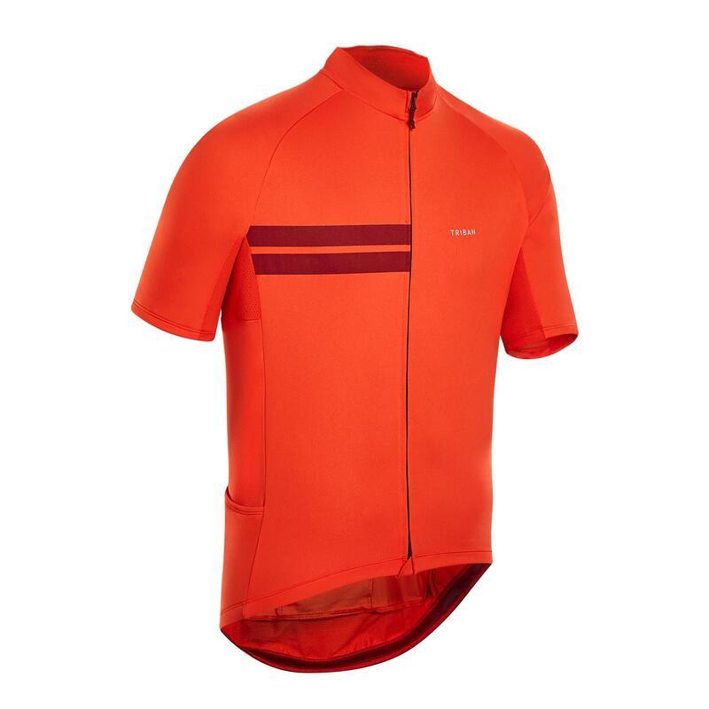 Fietsshirt met korte mouwen heren RC100 warm weer rood