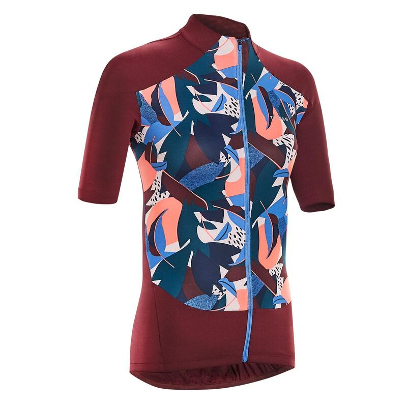 Women's Cycling Short-Sleeved Jersey 500 - Sunplant Burgundy