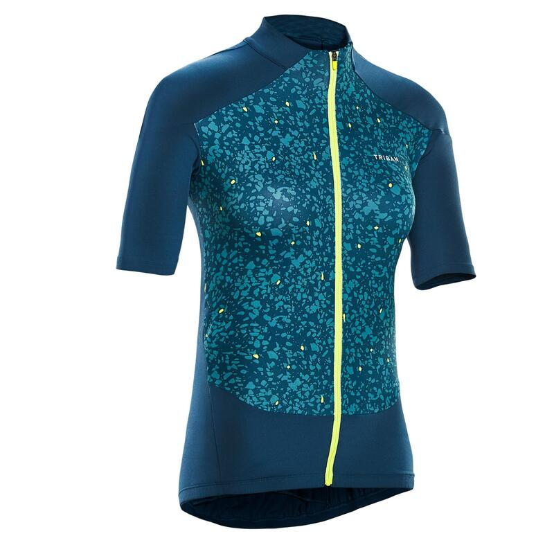 MAILLOT VELO MANCHES COURTES FEMME 500 TERRAZZO VERT