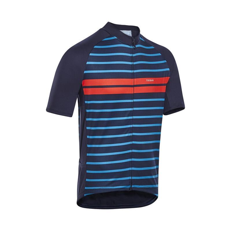 Fietsshirt met korte mouwen heren RC100 warm weer marineblauw/oranje strepen