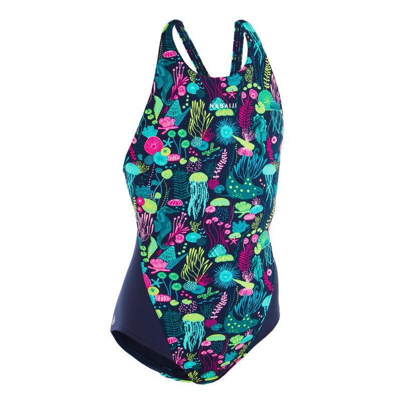 Maillot de bain une pièce de natation fille Kamiye Print Alg bleu / rose