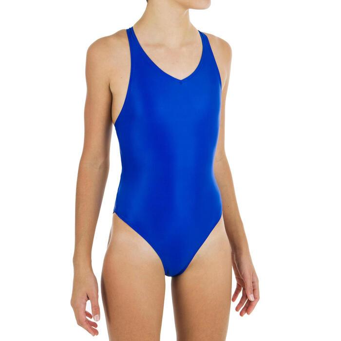 Maillot de bain fille de natation synchronisée artistique une pièce, bleu.