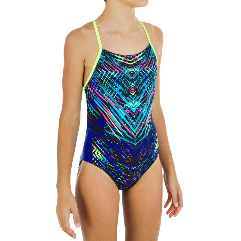 Maillot de bain de natation une pièce fille résistant chlore Lexa fuxen jaune