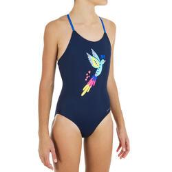 Fato de banho de natação menina Lila Bird Azul marinho