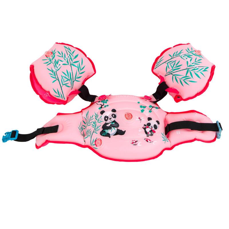 BRASSARDS DE PISCINE EVOLUTIF ENFANT - TISWIM 2 PANDA - ROSE