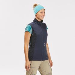 Gilet coupe vent de trek en montagne - TREK 500 Bleu foncé - Femme