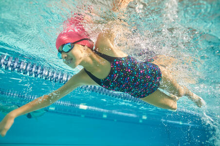 Girl's Swimming Chlorine-Resistant One-Piece Swimsuit Kamyleon - Star