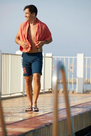 Swimming Microfibre Towel Size L 80 x 130 cm - Dark Orange Striped