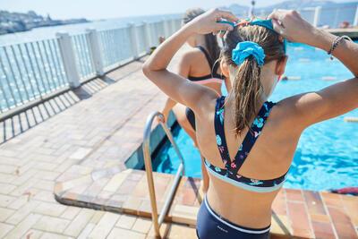 Girls' Swimming Hair Scrunchie - Blue