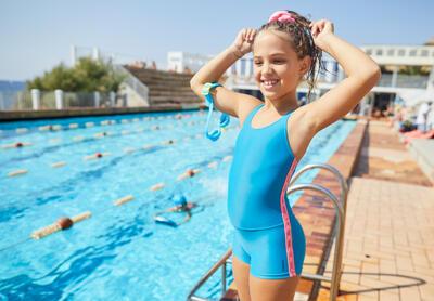 גומיית שיער לשחייה לילדות - ורוד פסטל