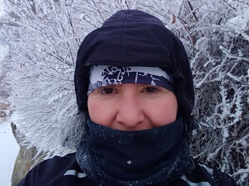 Murielle Chauviteeau running during winter