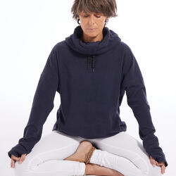 Felpa in pile donna yoga blu melange
