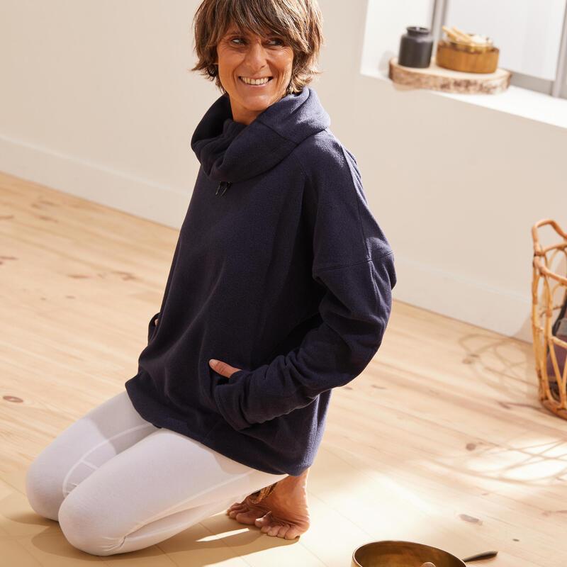 Sudadera Oversize Polar Mujer Yoga Embarazada Meditación Ecofriendly Azul