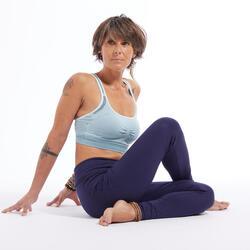 Legging zachte yoga dames ecodesigned marineblauw