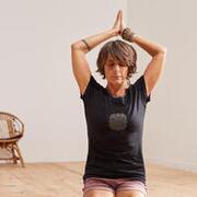 Women's Short-Sleeved Gentle Yoga T-Shirt - Mandala/Black