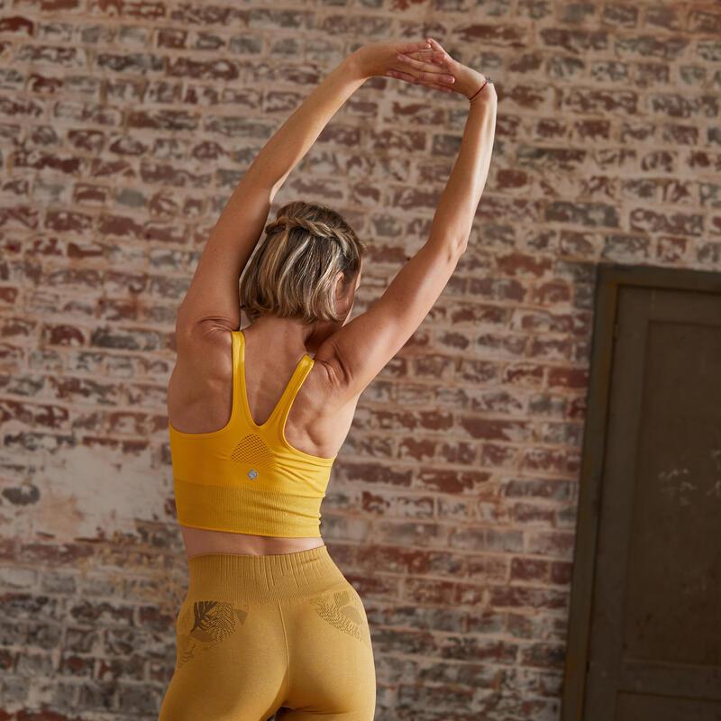 Top Sujetador Deportivo Seamless Mujer Yoga Relleno Extraible Amarillo