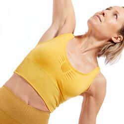 Lang naadloos sporttopje voor dynamische yoga geel/zilver