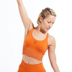 Lang naadloos sporttopje voor dynamische yoga oranje/zilver