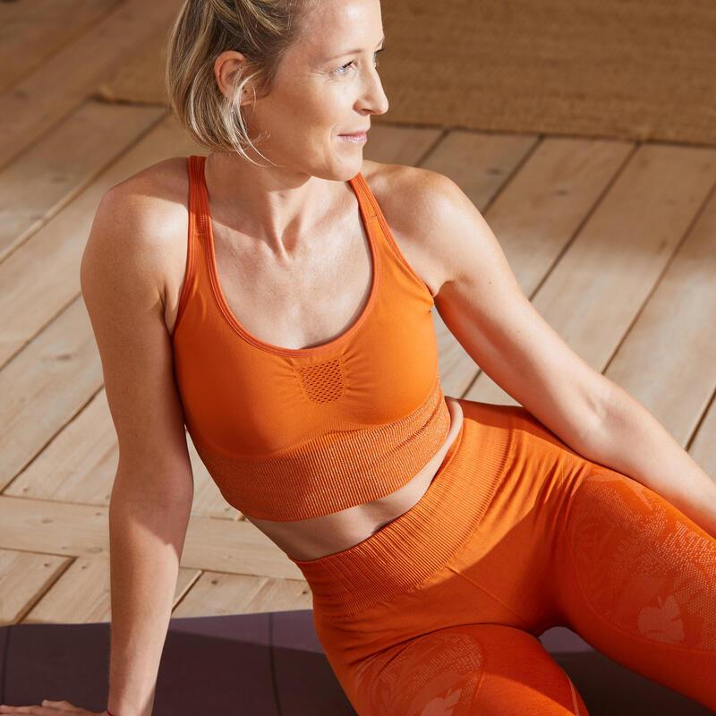 Top Sujetador Deportivo Seamless Mujer Yoga Relleno Extraible Naranja