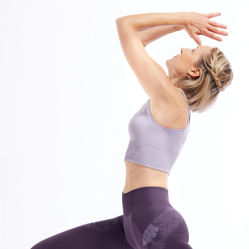 Seamless Long Dynamic Yoga Sports Bra - Mauve/Silver