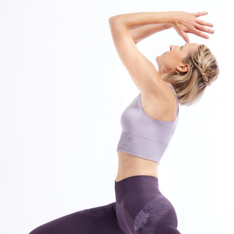 Top lungo seamless donna yoga viola chiaro-silver