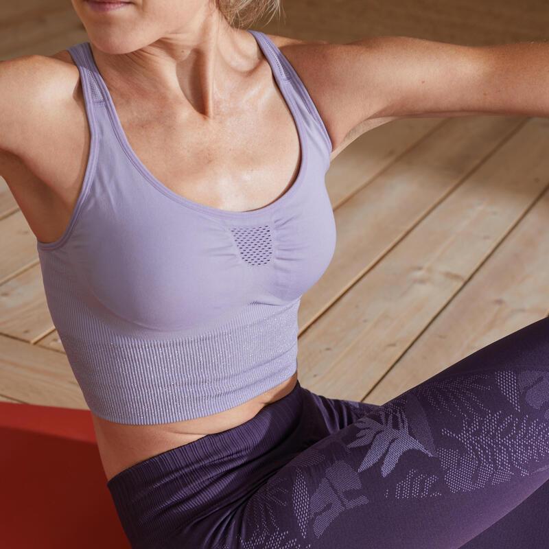 Top Sujetador Deportivo Seamless Mujer Yoga Relleno Extraible Violeta