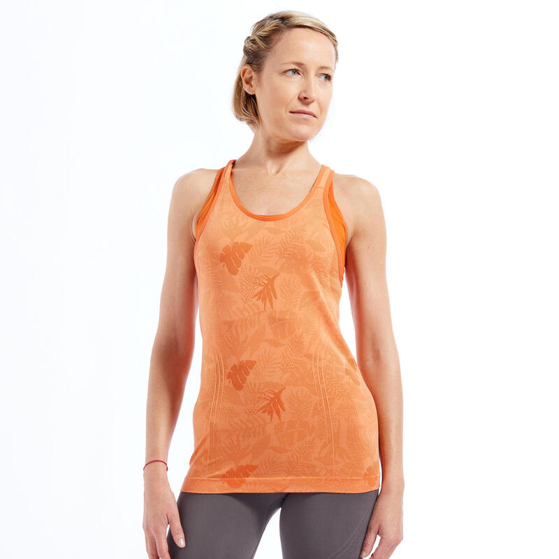 Canotta donna yoga seamless arancione