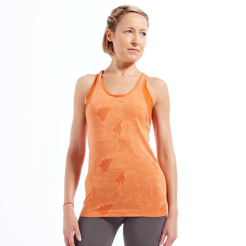 Naadloos topje voor dynamische yoga dames jacquard oranje