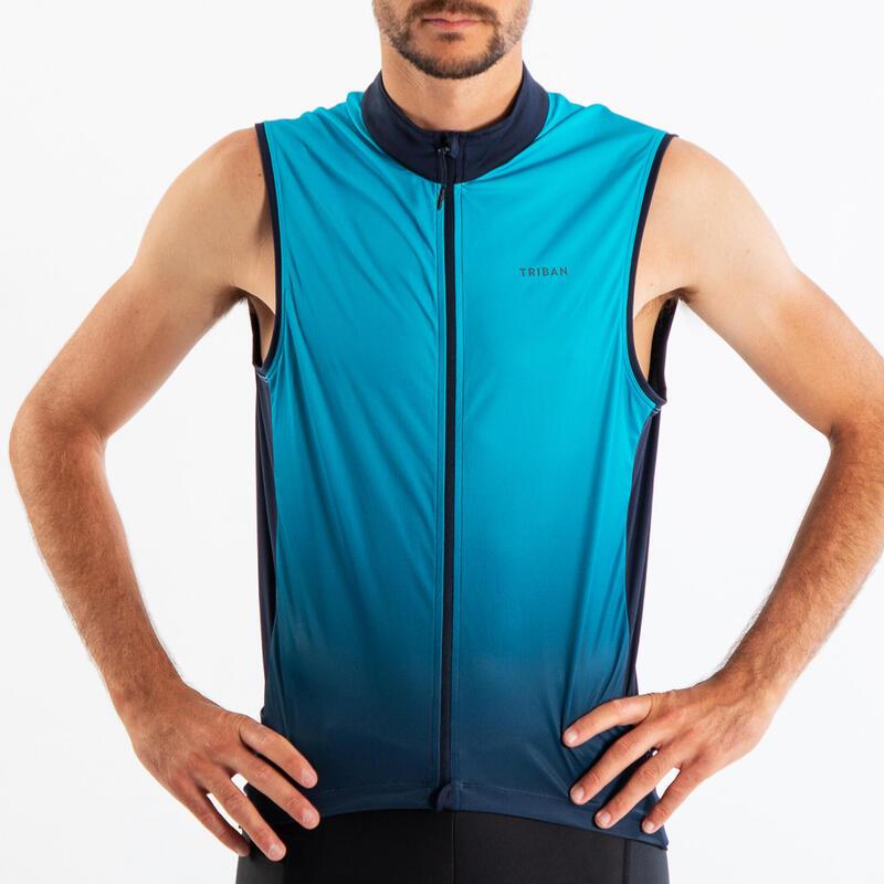 Mouwloos fietsshirt voor heren RC500 blauw