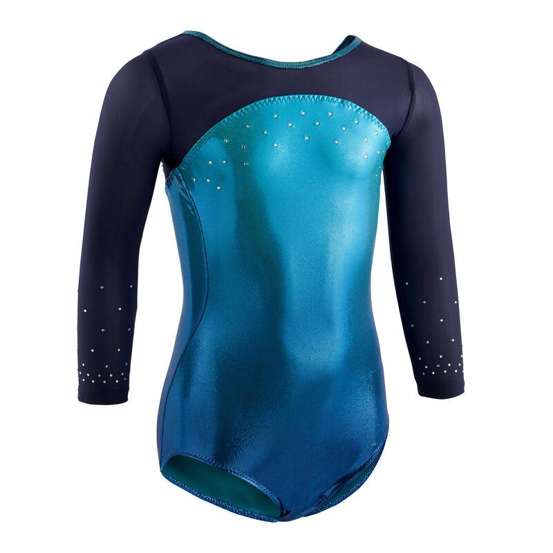 Girls' Artistic Gymnastics 3/4-Sleeve Leotard - Green