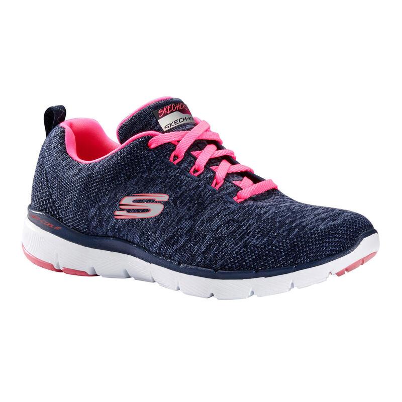 Zapatillas Skechers Flex Appeal Mujer Caminar Azul/Rosa