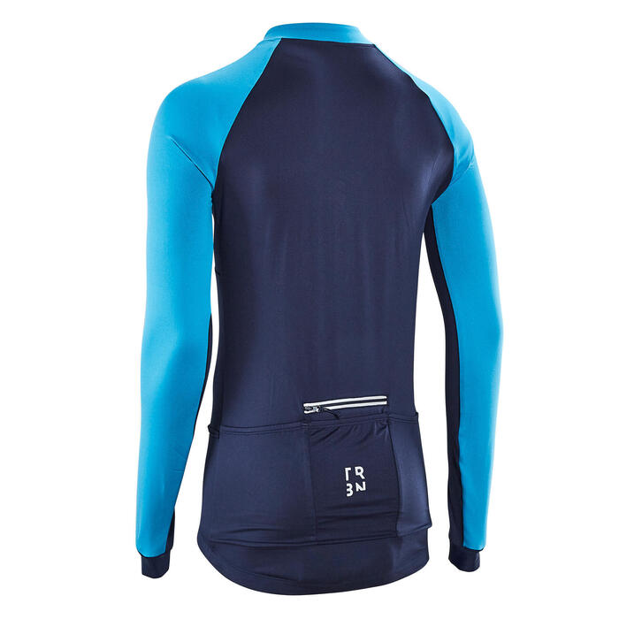 MAILLOT VELO ROUTE HOMME MANCHES LONGUES RC100 NAVY BLEU