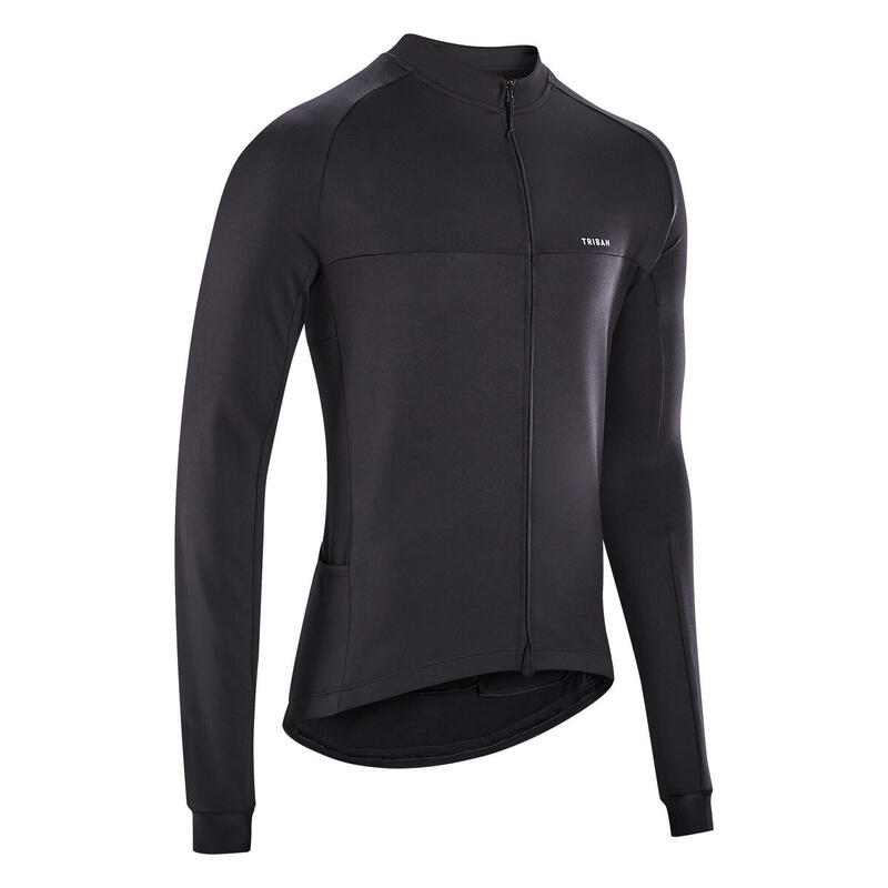 Men's Road Cycling Long-Sleeved Jersey RC100 - Black