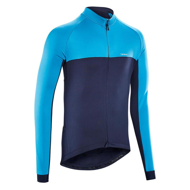 Fietsshirt met lange mouwen voor heren racefietsen RC100 marineblauw
