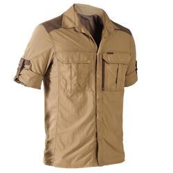 Camisa de caça manga comprida leve e respirável 520 castanho