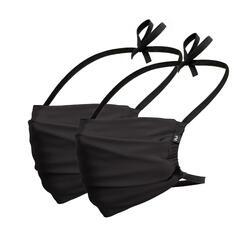 Set van 2 wasbare mondmaskers voor volwassenen COVID-19 zwart