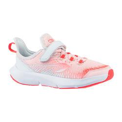 Laufschuhe Leichtathletik Klettverschluss AT Flex Run Kinder rosa/grau