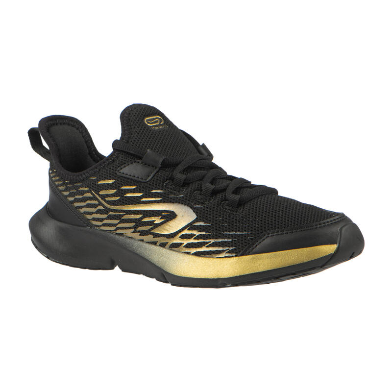 Chaussures de running enfant AT Flex Run noires et dorées à lacets