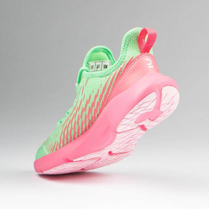 AT Flex Run children's running shoes with laces - green and pink