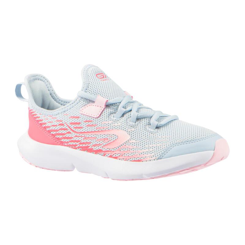 Chaussures de running enfant AT Flex Run grises et roses à lacets