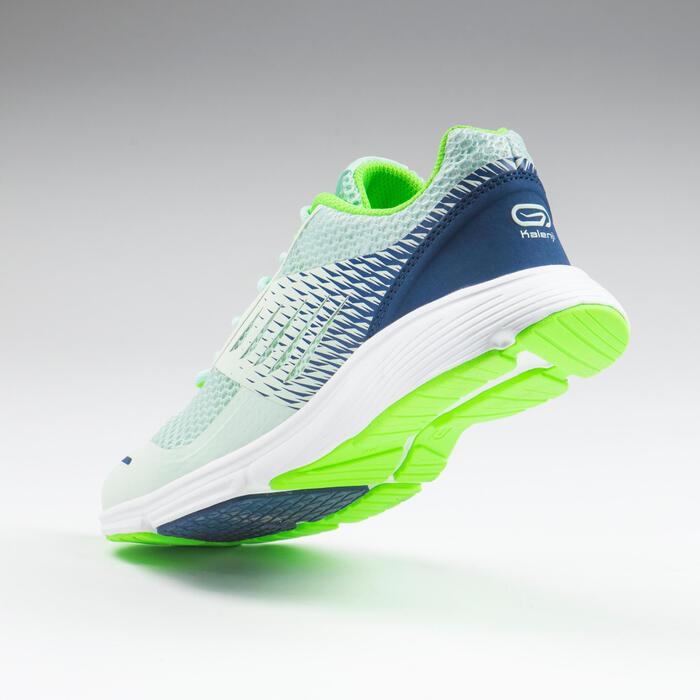 chaussures enfant de running et d'athlétisme AT breath vert clair et bleu marine