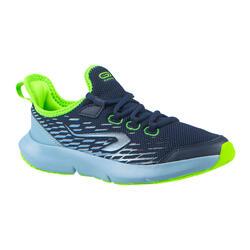 Chaussures de running enfant AT Flex Run bleues denim et vertes fluos à lacets