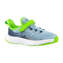 Laufschuhe Leichtathletik Klettverschluss AT Flex Run Kinder jeansfarben/grün