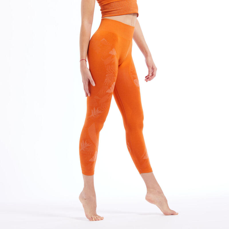 Seamless 7/8 Dynamic Yoga Leggings - Orange