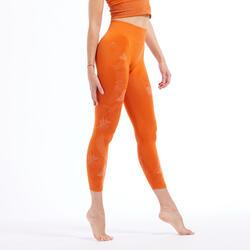 Naadloze 7/8-legging voor dynamische yoga oranje